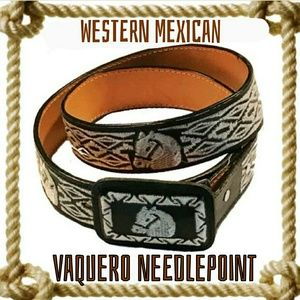 Other - Authentic Mexico Needlepoint Leather Belt
